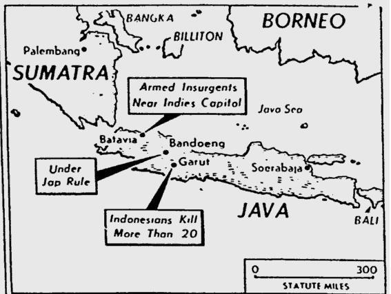 Peta Jawa oleh Miami daily news oktober 1945